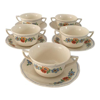 Cottage Style Floral Bouillon Cups & Saucers - Set of 5