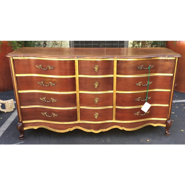 Antique Walnut & Gilt-wood Buffet or Chest of Drawers by Bassett - Image 2 of 4