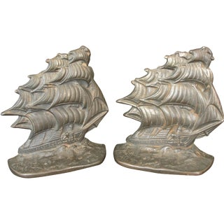 Vintage Cast Iron Ship Bookends - A Pair