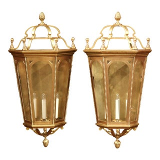 Pair of Early 20th Century French Bronze Wall Outside Sconces with Glass