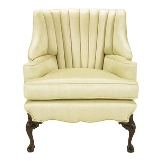 1930s Channel Back Claw Foot Georgian Wingback Chair