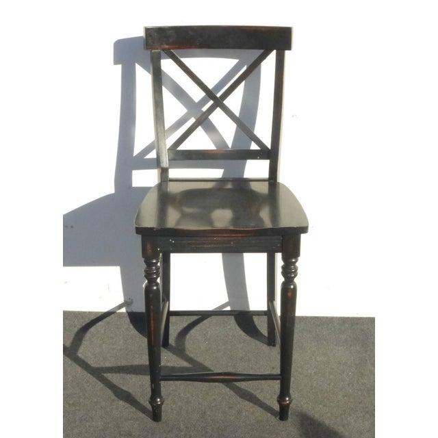 Image of Black Modern Wood Bar Stools - Set of 4