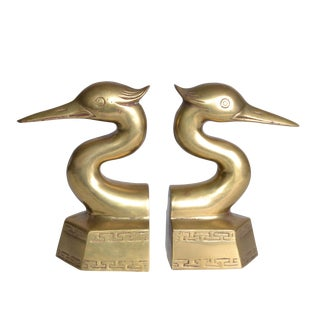 Vintage Brass Heron Bookends