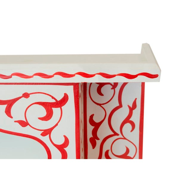 Red & White Moroccan Wall Shelf - Image 3 of 3