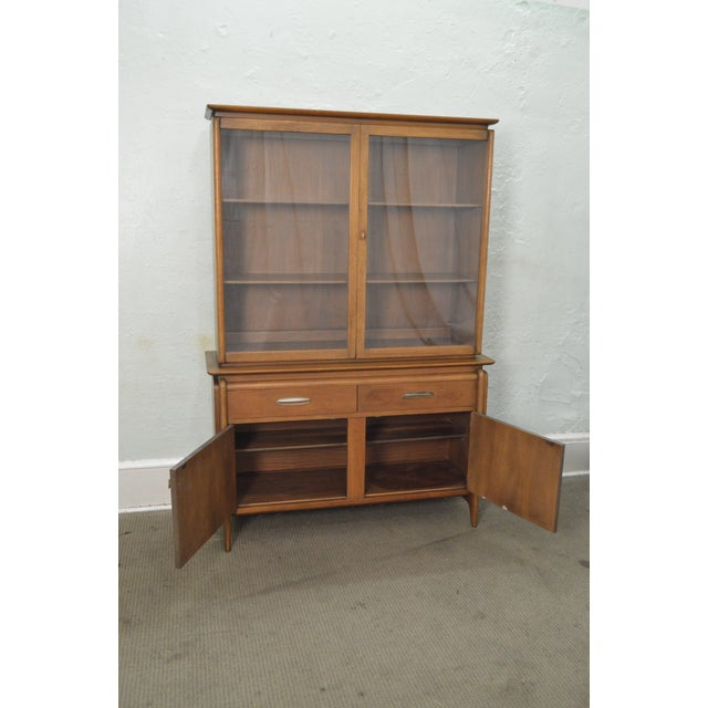 Drexel Projection Mid century Modern Walnut China Cabinet - Image 6 of 11