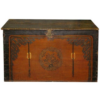 Antique Hand-Painted Mongolian Trunk