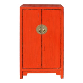 Chinese Distressed Red Color Slim Mid Size Table Cabinet