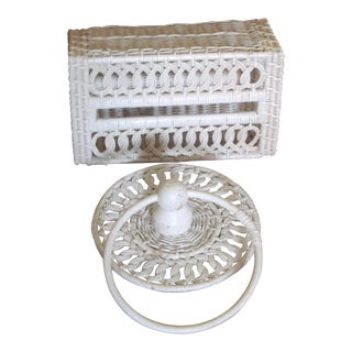 Vintage Wicker Towel Ring & Tissue Holder - A Pair