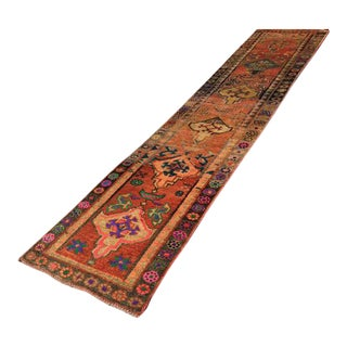 Vintage Hand Knotted Turkish Runner - 2′11″ × 12′4″