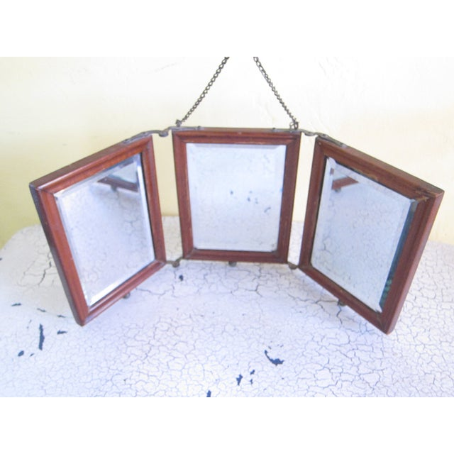 Image of Victorian Antique Tri-Fold Wooden Travel Mirror