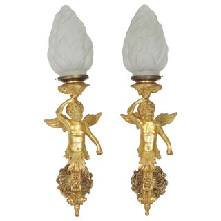 Large Figural Gilt Bronze Cherub Sconces - Pair