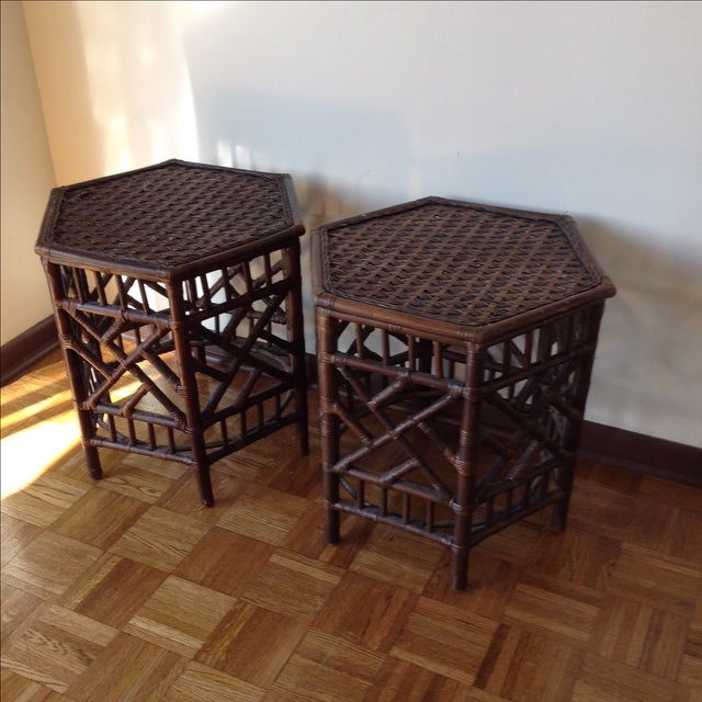 Rattan Chinese Chippendale Fretwork Tables - Pair - Image 8 of 8