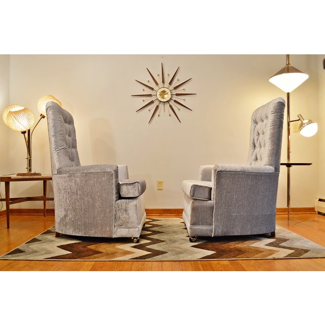 Mid Century Velvet Tufted High-Back Chairs - Pair - Image 6 of 8