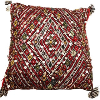 Sequined Kilim Accent Pillow with Diamond Symbol