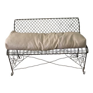 French Peacock Blue Iron Bench with Metallic Linen Cushion
