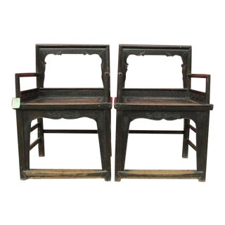 Vintage Carved Wood Arm Chairs - a Pair