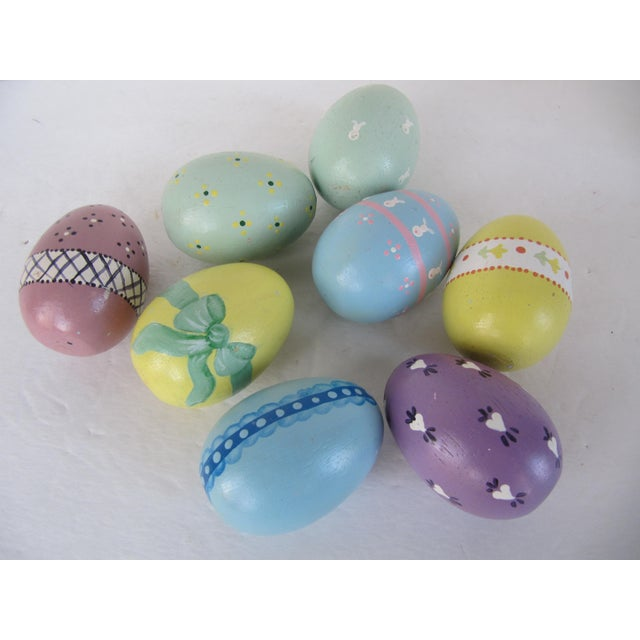 Image of Hand Painted Wood Easter Eggs - Set of 8