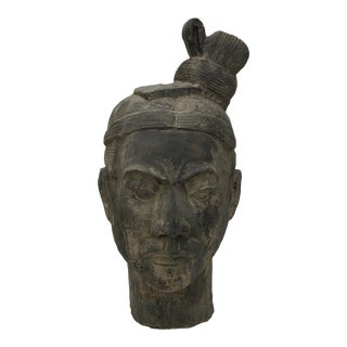 Vintage Clay Chinese Art Warrior Bust