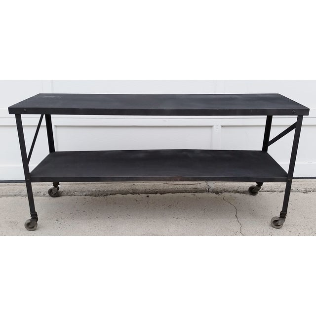 Industrial Metal Console Table on Casters - Image 4 of 10