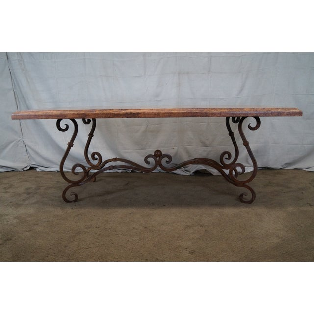 Wrought Iron Base French Marble Top Dining Table Chairish