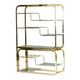 Milo Baughman Brass & Glass Two Part Etagere