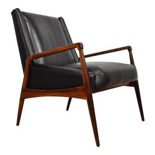 Mid-Century Rosewood & Black Leather Lounge Chair