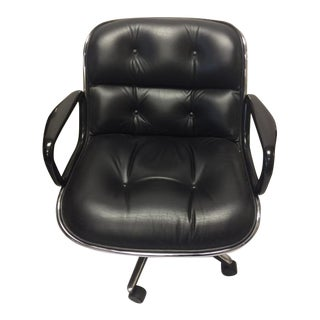 Charles Pollock for Knoll Executive Swivel Armchair in Black Leather