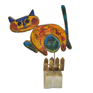 Vintage 'Cat on a Fence' Sculpture by Curtis Jere
