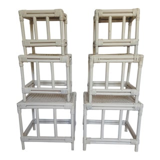 Small Rattan Nesting Tables - Set of 6