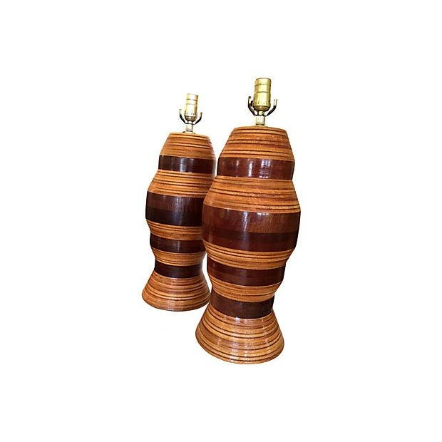 Multi-Layer Banded Wood Lamps - Image 3 of 4