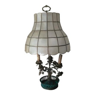 Antique Steel & Brass Roses Lamp
