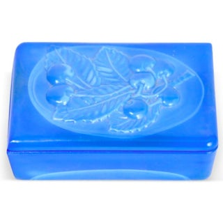 Blue Opaline Box with Cherries