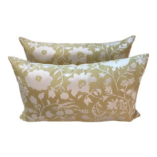 Yellow Floral Lumbar Pillows - A Pair