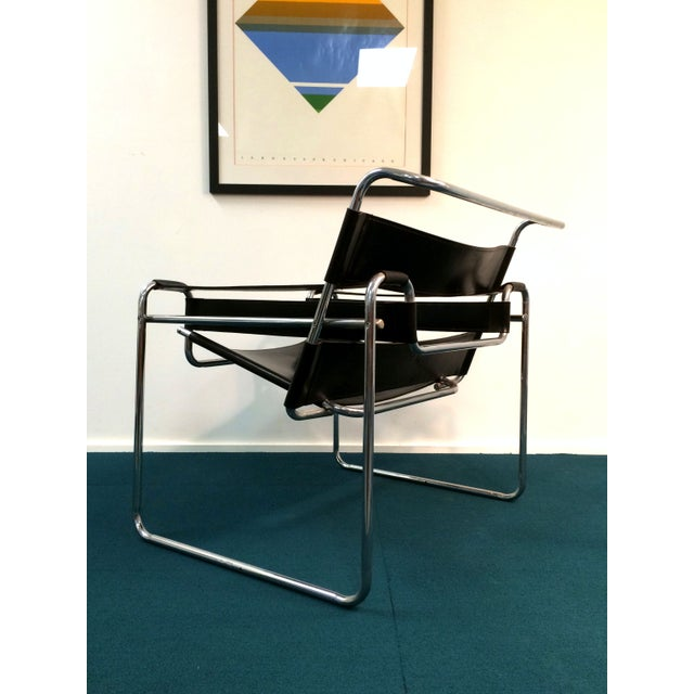 Wassily Style Chair in Black Leather and Chrome - Image 4 of 8