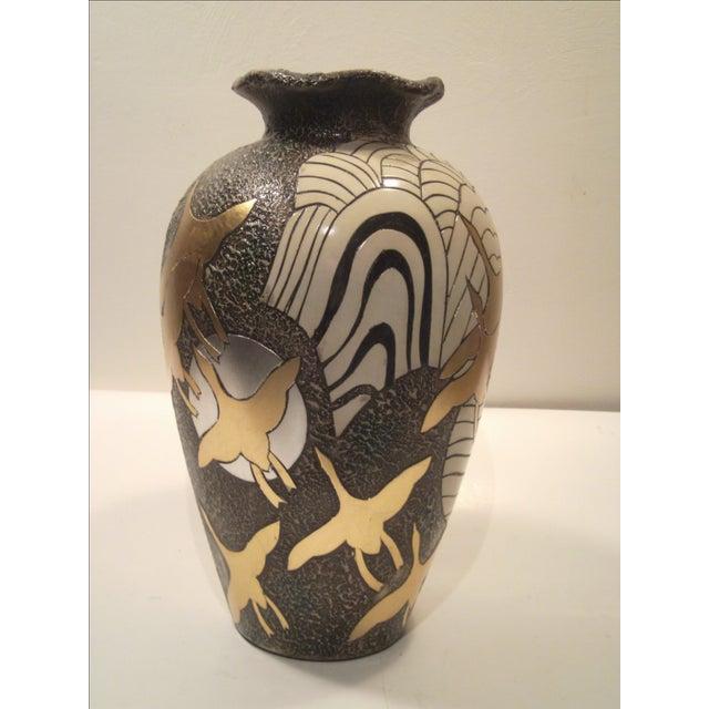 Large Alexander Kalifano Gold & Silver Leaf Vase - Image 4 of 10