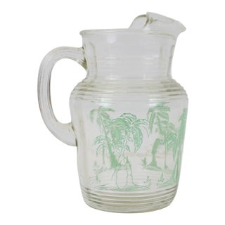 Glass Palm Tree Pitcher