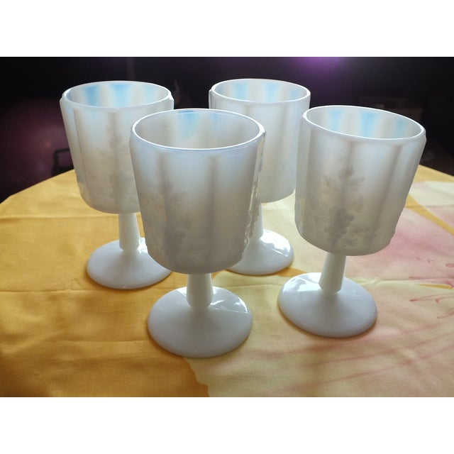 White Opalescent Glass Paneled Grape Goblets - S/4 - Image 9 of 9