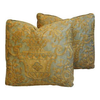 Golden Mariano Fortuny Carnavalet Pillows - A Pair