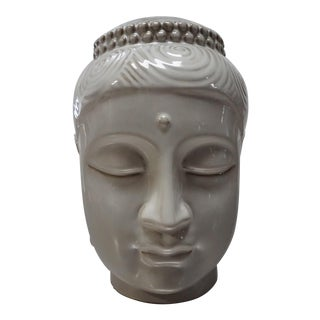 Light Gray Ceramic Buddha Head
