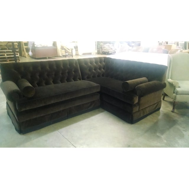 Custom Designed Chocolate Velvet Sectional Sofa Chairish