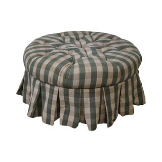 Calico Corners Round Tufted Upholstered Ottoman