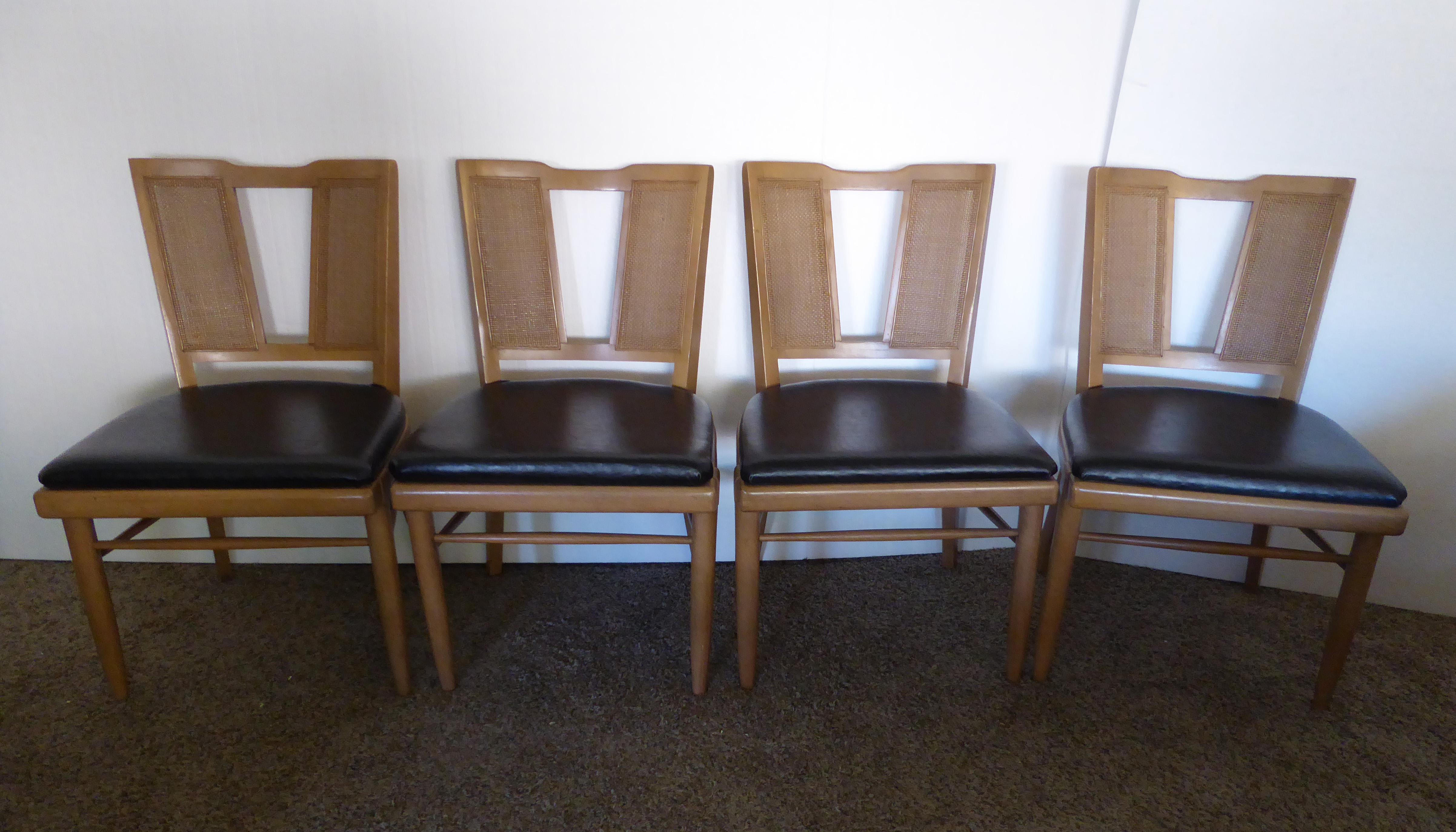 Vintage Danish Modern Style Cane Back Dining Chairs By American Furniture  Co.   Set Of