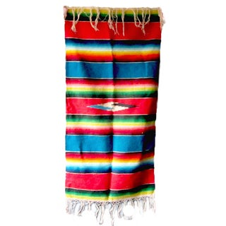 Vintage Mexican Saltillo Serape Art Table Runner