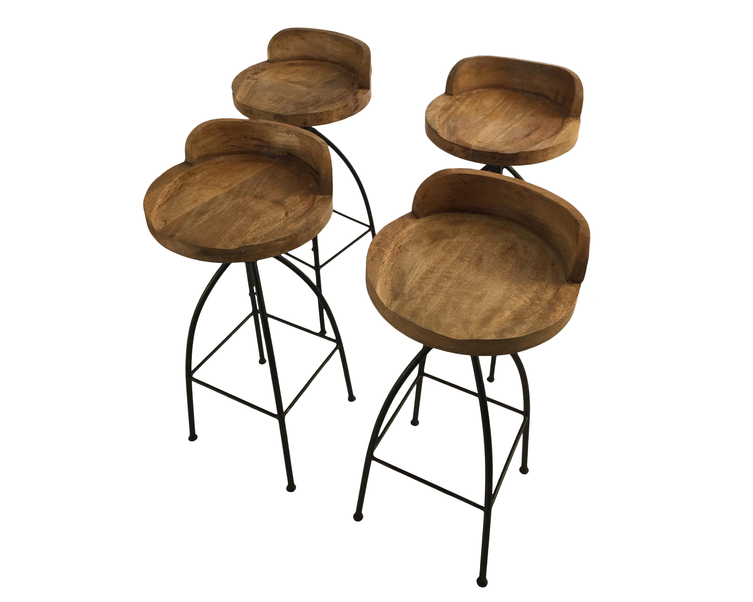 wood and iron bar stools set of 4