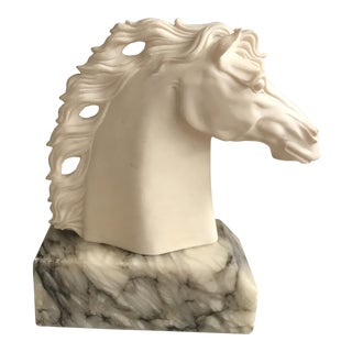 Vintage Horse Head Bust Set in Marble