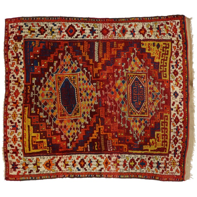Antique Turkish Oushak with Modern Tribal Design - Image 5 of 5
