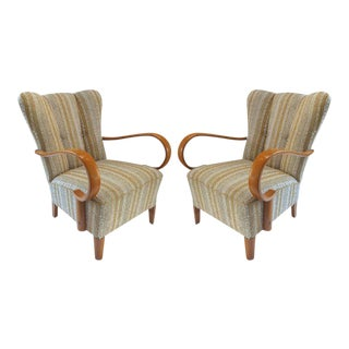 Italian Mid-Century Modern Beech and Boucle Armchairs Attributed Paolo Buffa