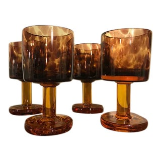 Vintage Tortoiseshell Water Goblets - Set of 4