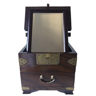 Antique Chinese Rosewood Traveling Vanity Mirror / Box