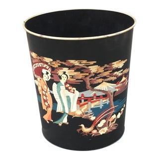 Vintage Tole Chinoiserie Painted Wastebasket